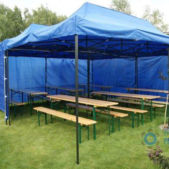 Dwa połączone namioty niebieskie 3x6m, 10 do 20 osób, wariant z ławostołami