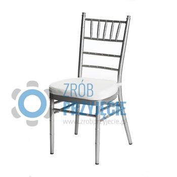 Srebrne krzesło Chiavari z poduszką