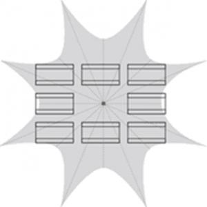 Namiot typu gwiazda, dla 64 osób, z 1 masztem - układ kompletów piwnych