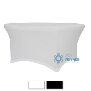 Obrusy streczowe białe do stołów okrągłych fi 180 cm (10-12 osobowe)