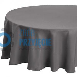 Obrusy klasyczne szare - do ziemi - do stołów okrągłych fi 180 cm (10-12 osobowe)